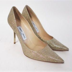 Jimmy Choo Abel Glitter Lame Pump Gold Size 37.5